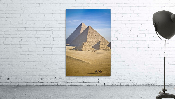 The Pyramids With Two Men On Camels Going By; Cairo,Egypt,Africa