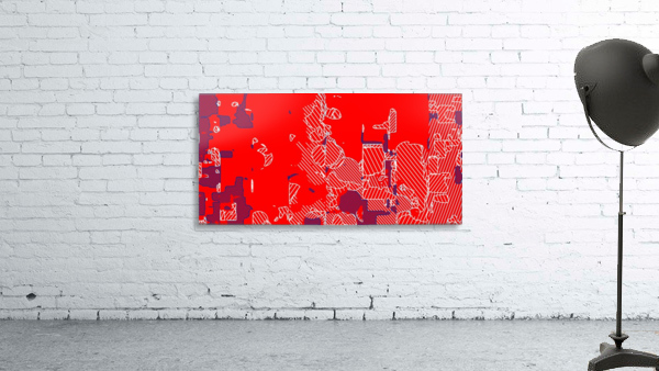 graffiti drawing and painting abstract in red and blue