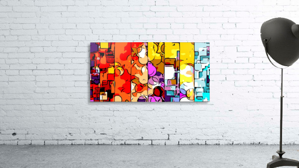 psychedelic geometric graffiti drawing and painting in orange pink red yellow blue brown purple and yellow