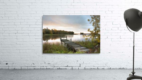 A Dock On A Lake At Sunrise Near Wawa; Ontario, Canada