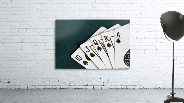 Close-Up Of Blackjack Playing Cards Showing Spades Royal Flush