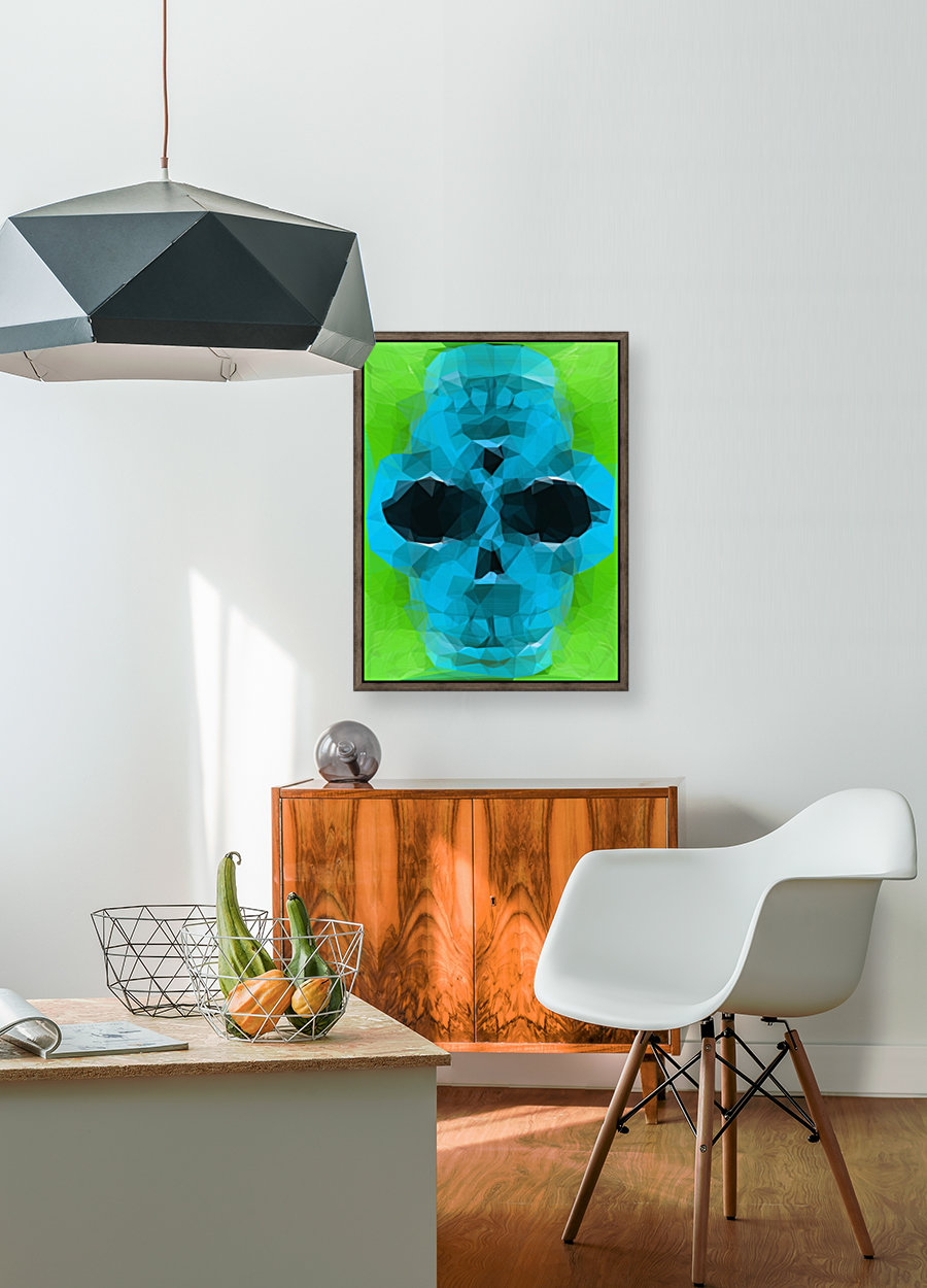 psychedelic skull art geometric triangle abstract pattern in blue and green  Art