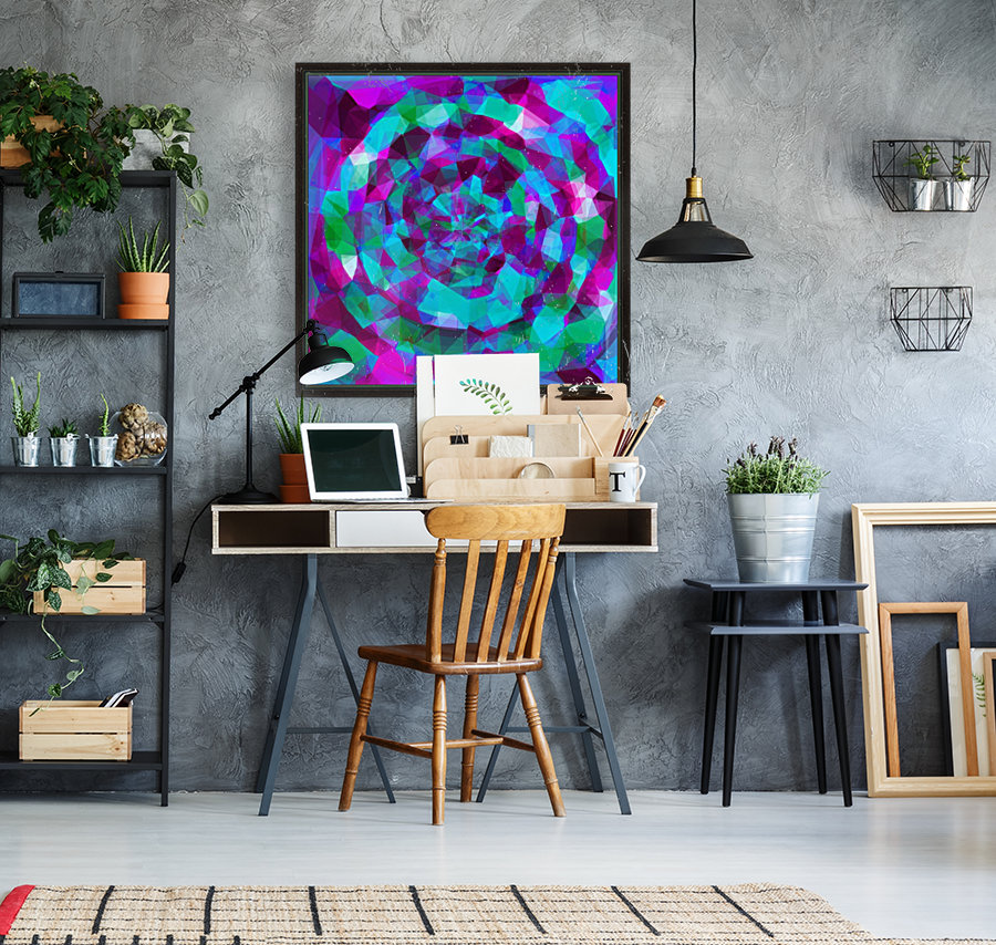 psychedelic geometric polygon pattern abstract in pink purple blue  Art