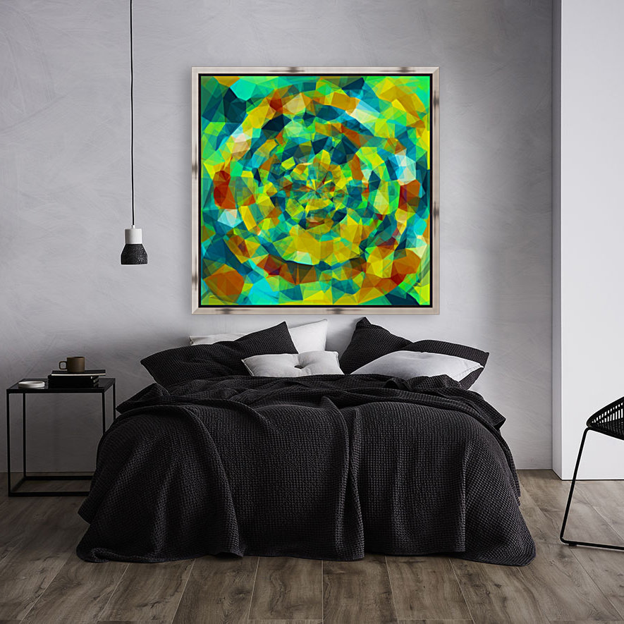 psychedelic geometric polygon pattern abstract in blue yellow green brown  Art