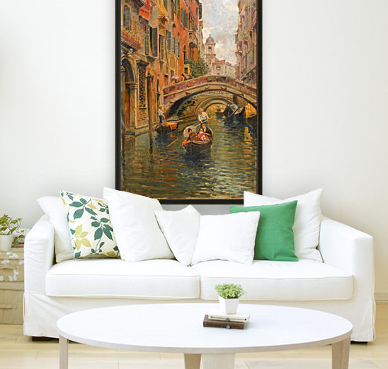 A walk with the gondola along a small canal in Venice  Art