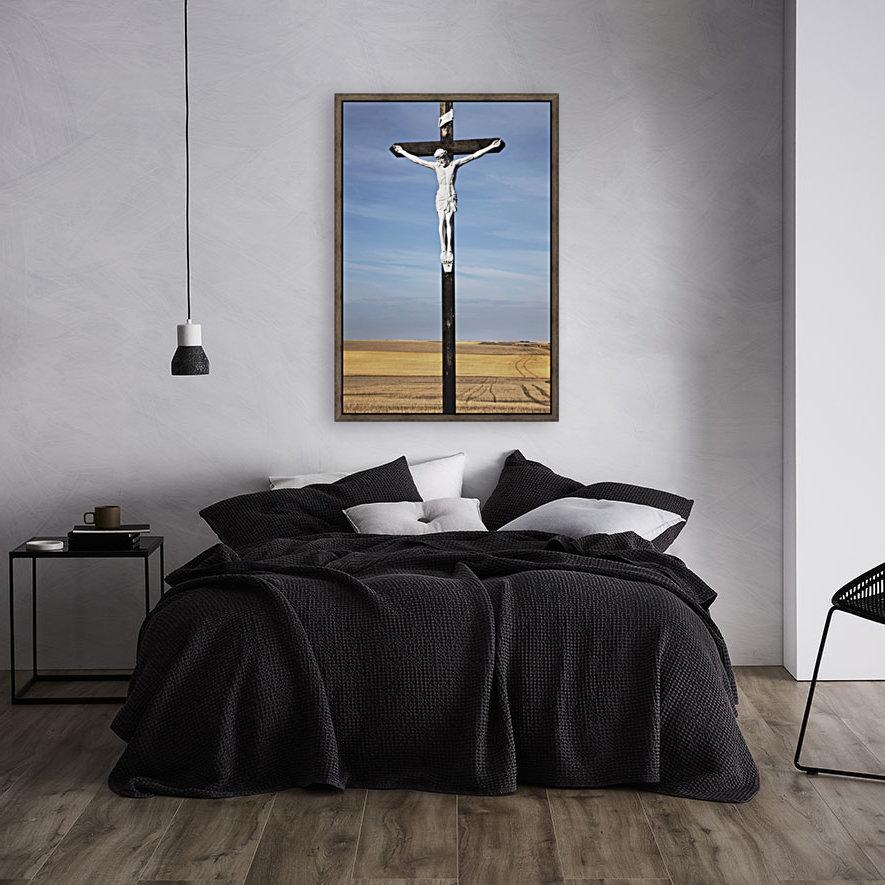 Crucifix and a farm field in the background;Saskatchewan canada  Art