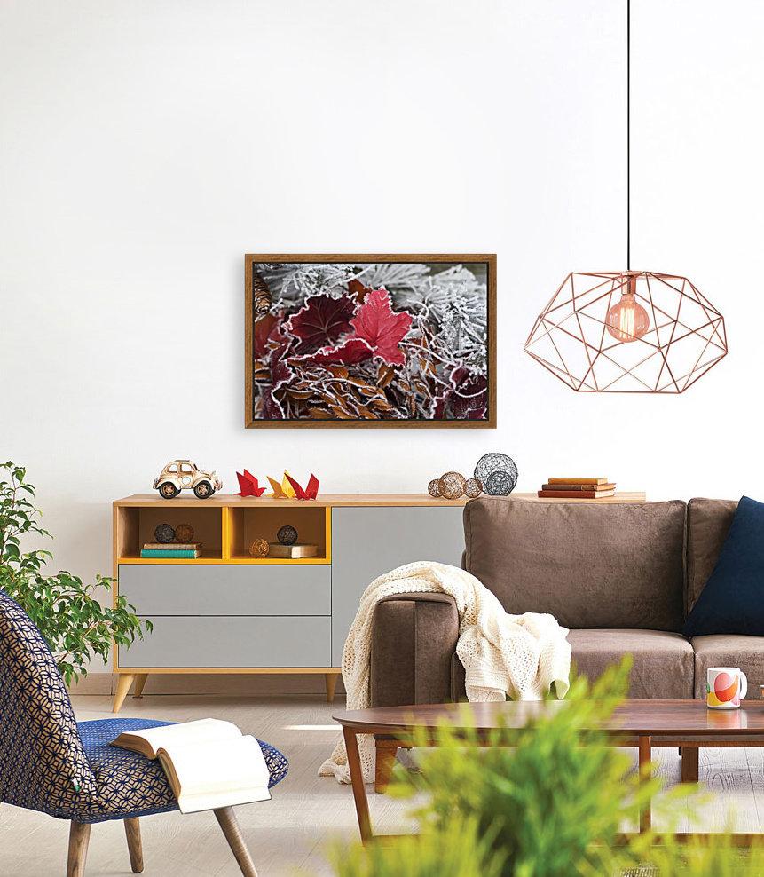 Hoarfrost covers holiday decorations on a wreath, Christmas season; Minnesota, United States of America  Art