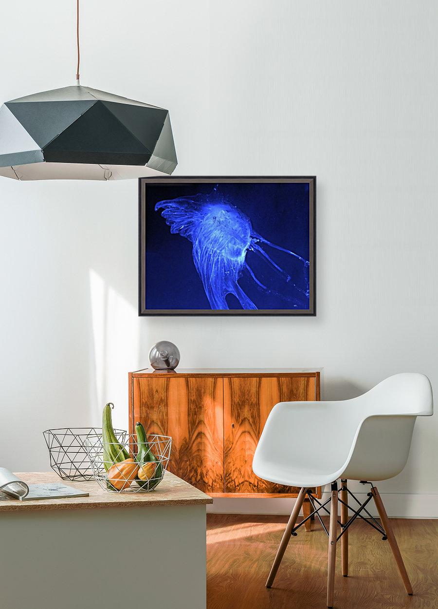 Glowing blue jellyfish in the dark water  Art