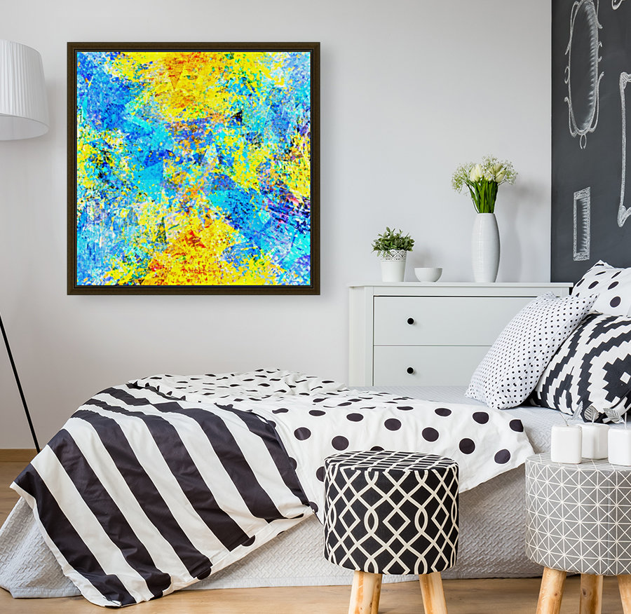 psychedelic geometric abstract pattern in yellow and blue  Art