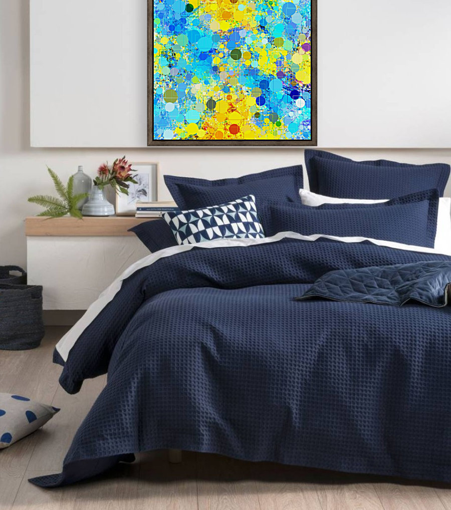 psychedelic geometric circle pattern and square pattern abstract in yellow and blue  Art