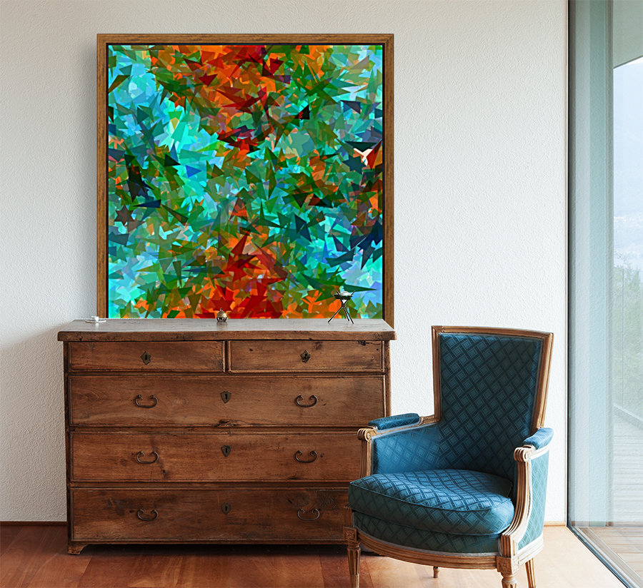 psychedelic geometric abstract pattern in green blue orange  Art