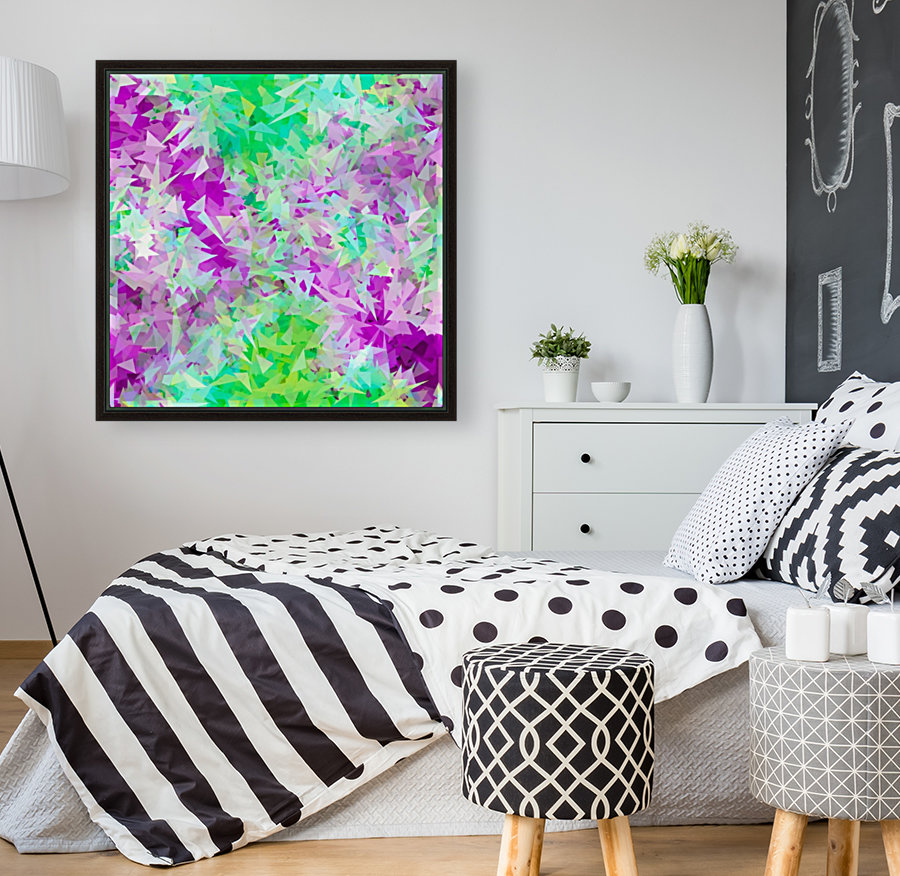 psychedelic geometric triangle abstract pattern in purple and green  Art