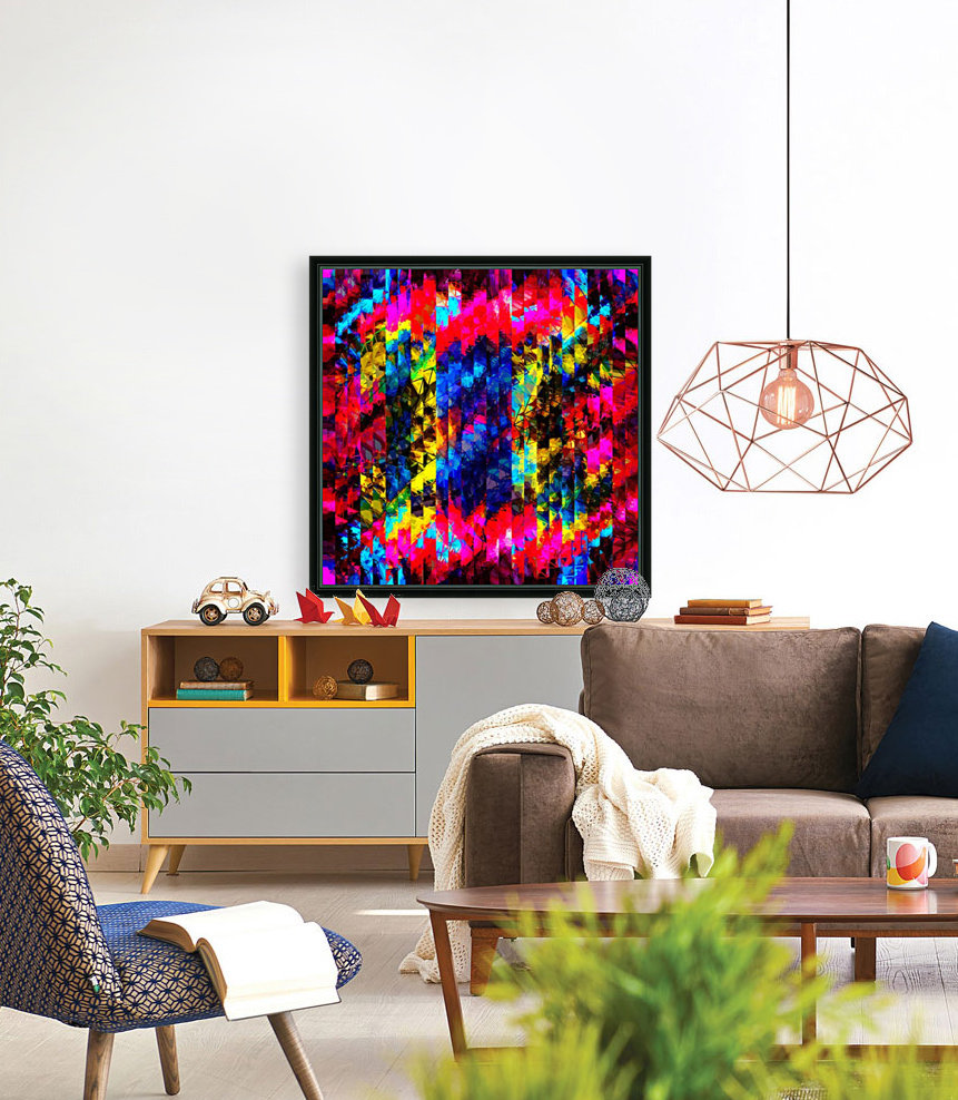 psychedelic geometric painting abstract pattern in red pink blue yellow  Art