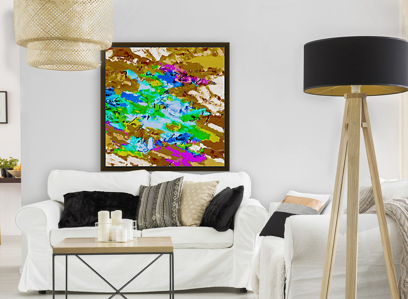 psychedelic splash painting abstract texture in brown green blue pink  Art