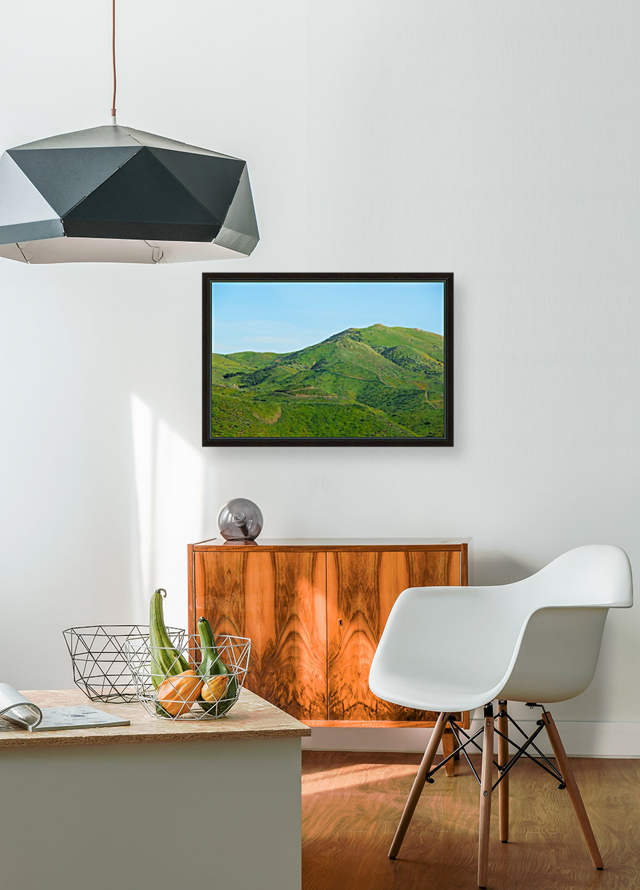 green field and green mountain with blue sky  Art