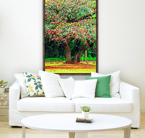 big tree with green yellow and red leaves  Art