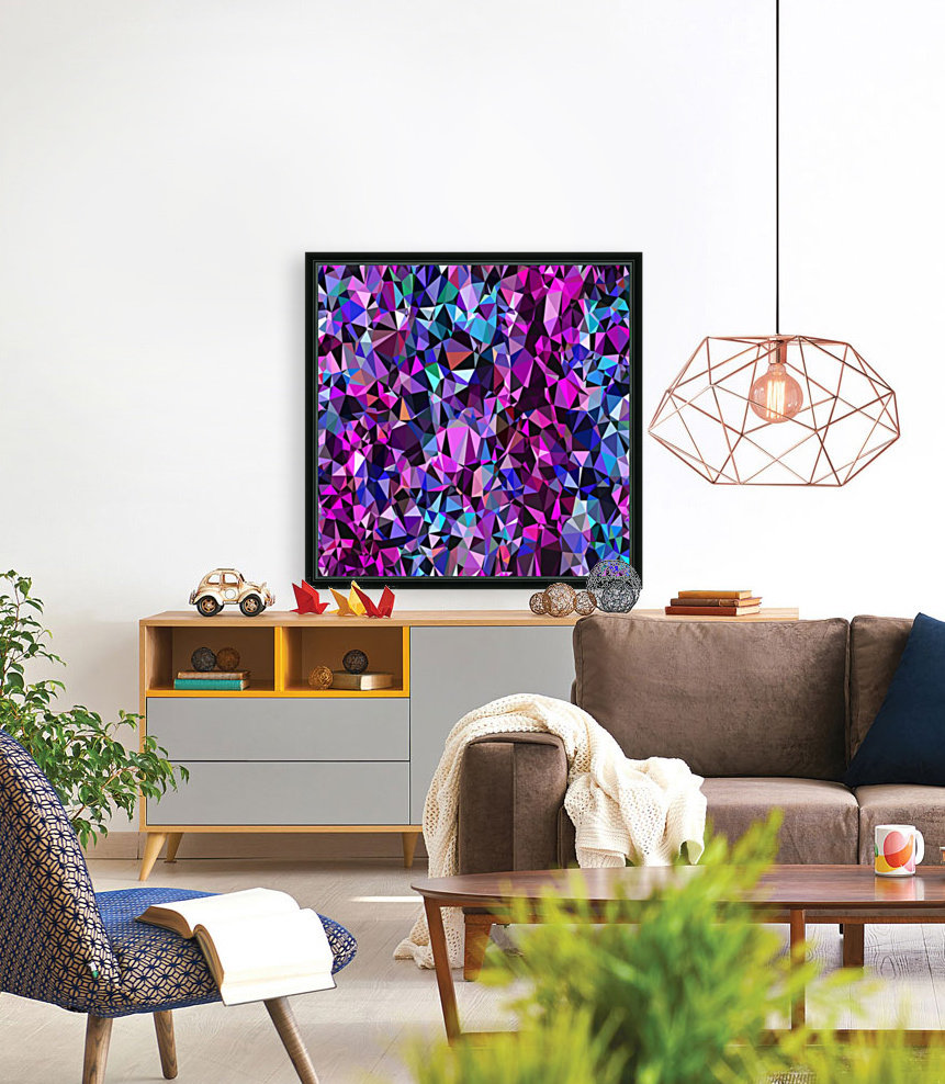 geometric triangle polygon pattern abstract in pink blue black  Art