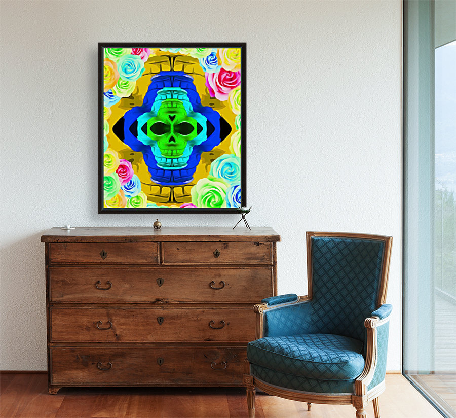 funny skull portrait with colorful roses in pink blue yellow green  Art