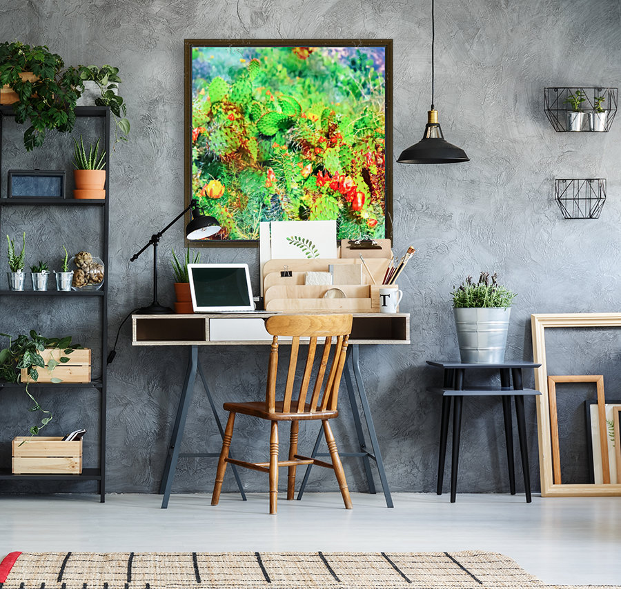 green cactus with yellow and red flower in the desert  Art