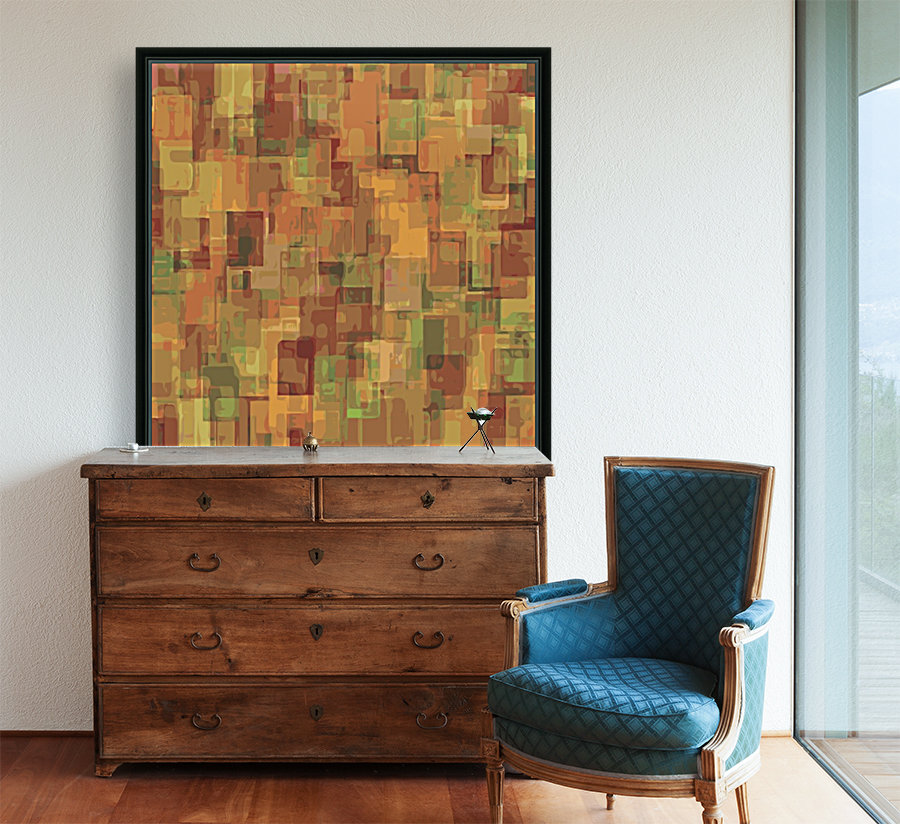 vintage psychedelic geometric square pattern abstract in brown and green  Art