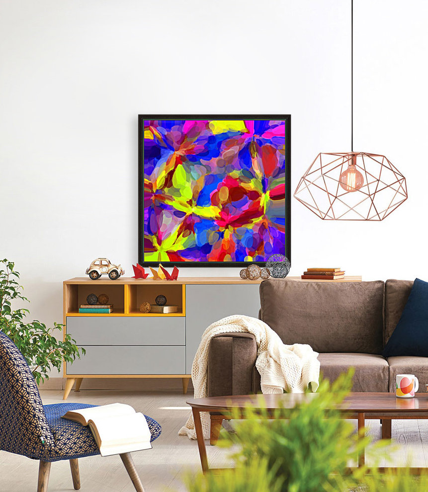 circle pattern abstract background in blue yellow red pink  Art