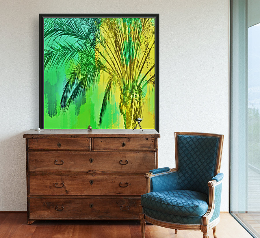 isolate palm tree with painting abstract background in green yellow with Floating Frame