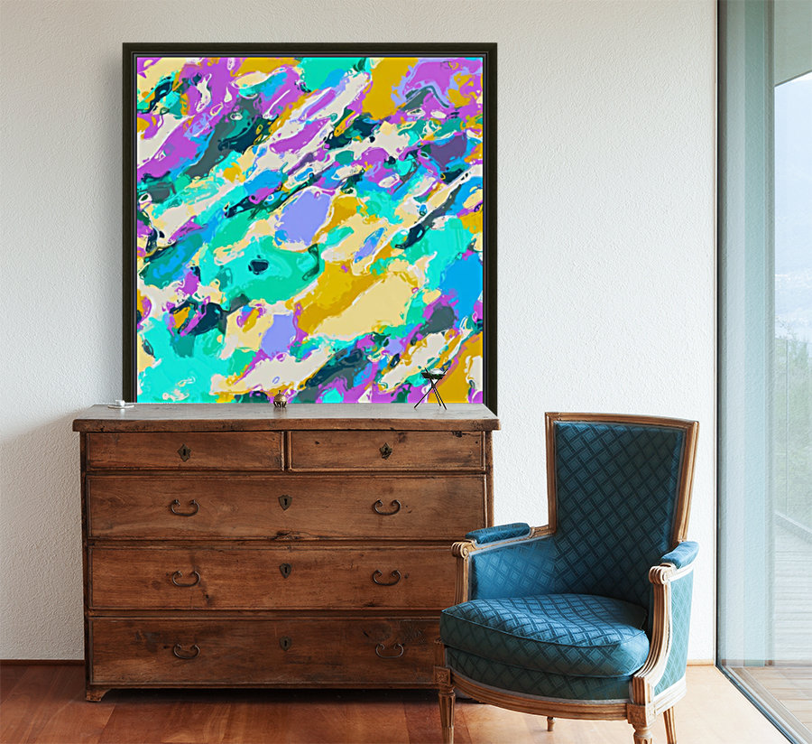 camouflage pattern painting abstract background in green blue purple yellow  Art