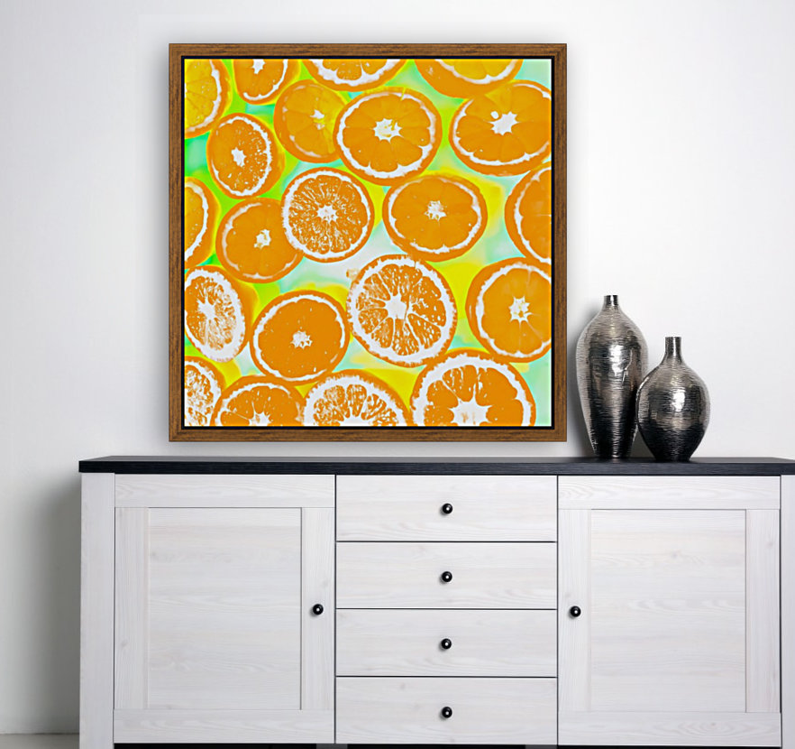 juicy orange pattern abstract with yellow and green background  Art