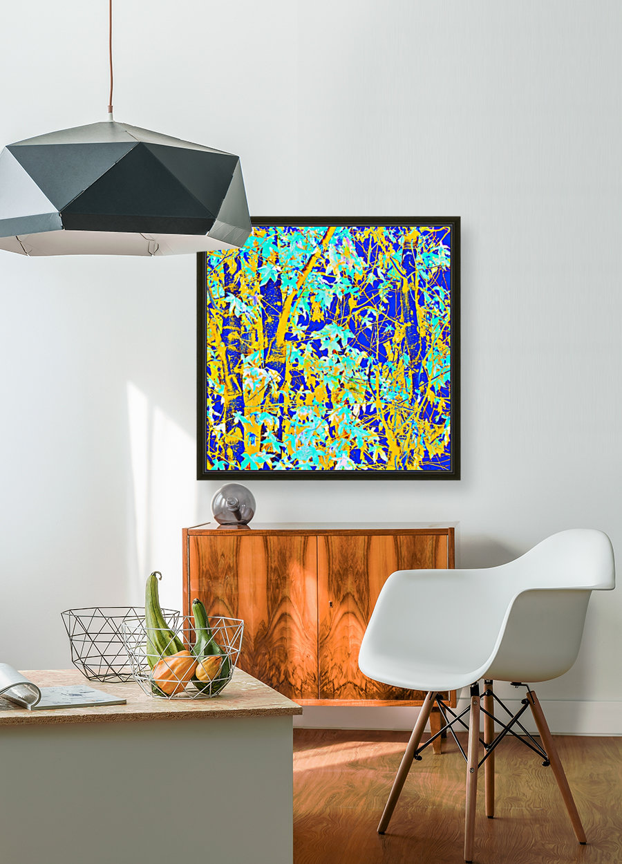 green maple tree leaf with blue and yellow abstract background  Art