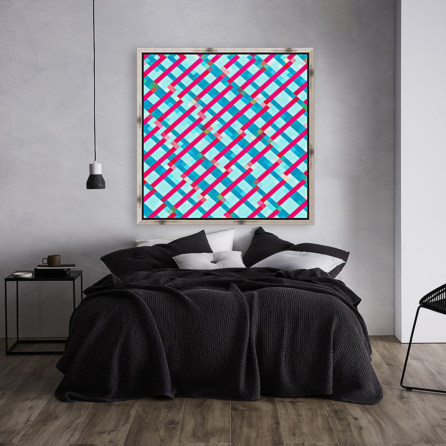 geometric pixel square pattern abstract background in blue pink  Art