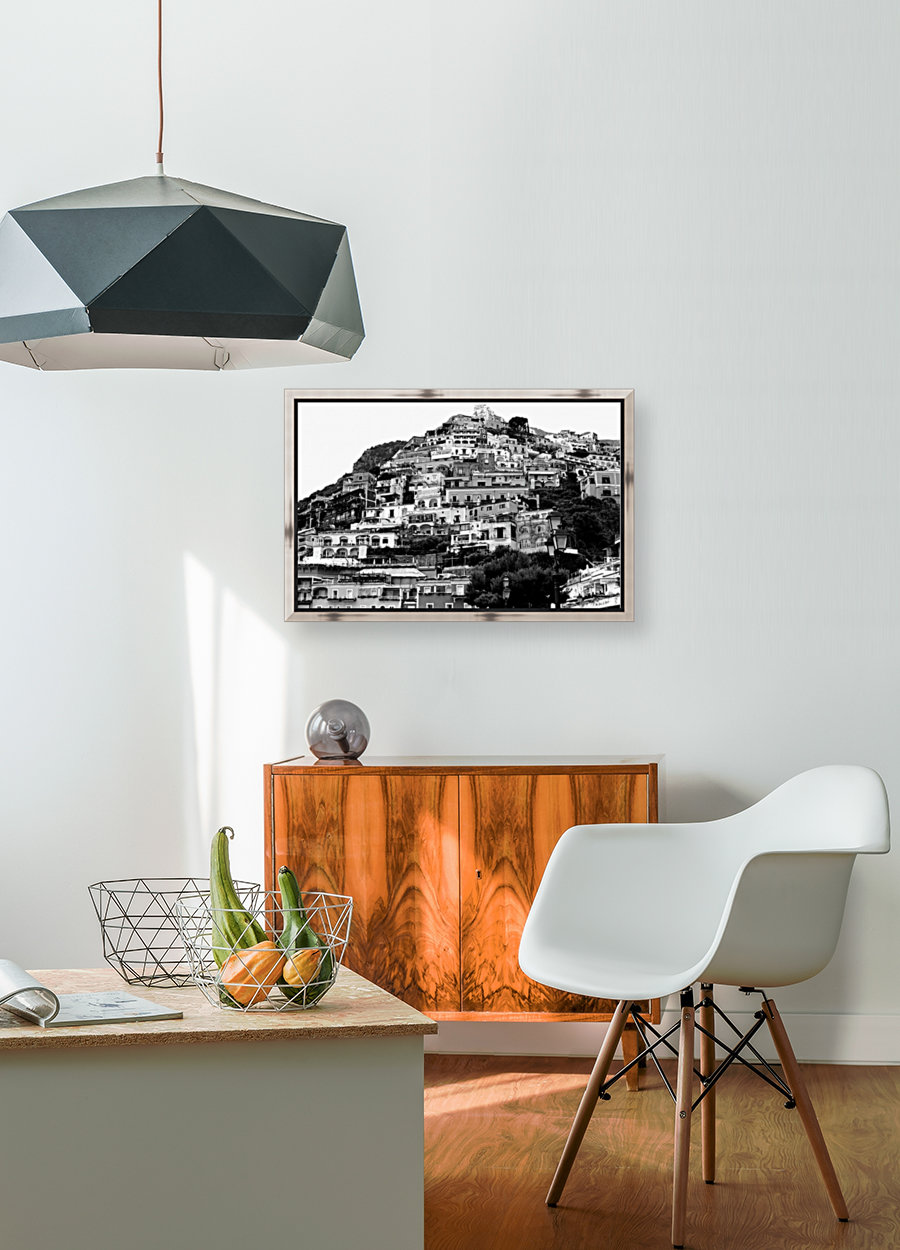 Black and White Landscape - Positano - Italy with Floating Frame