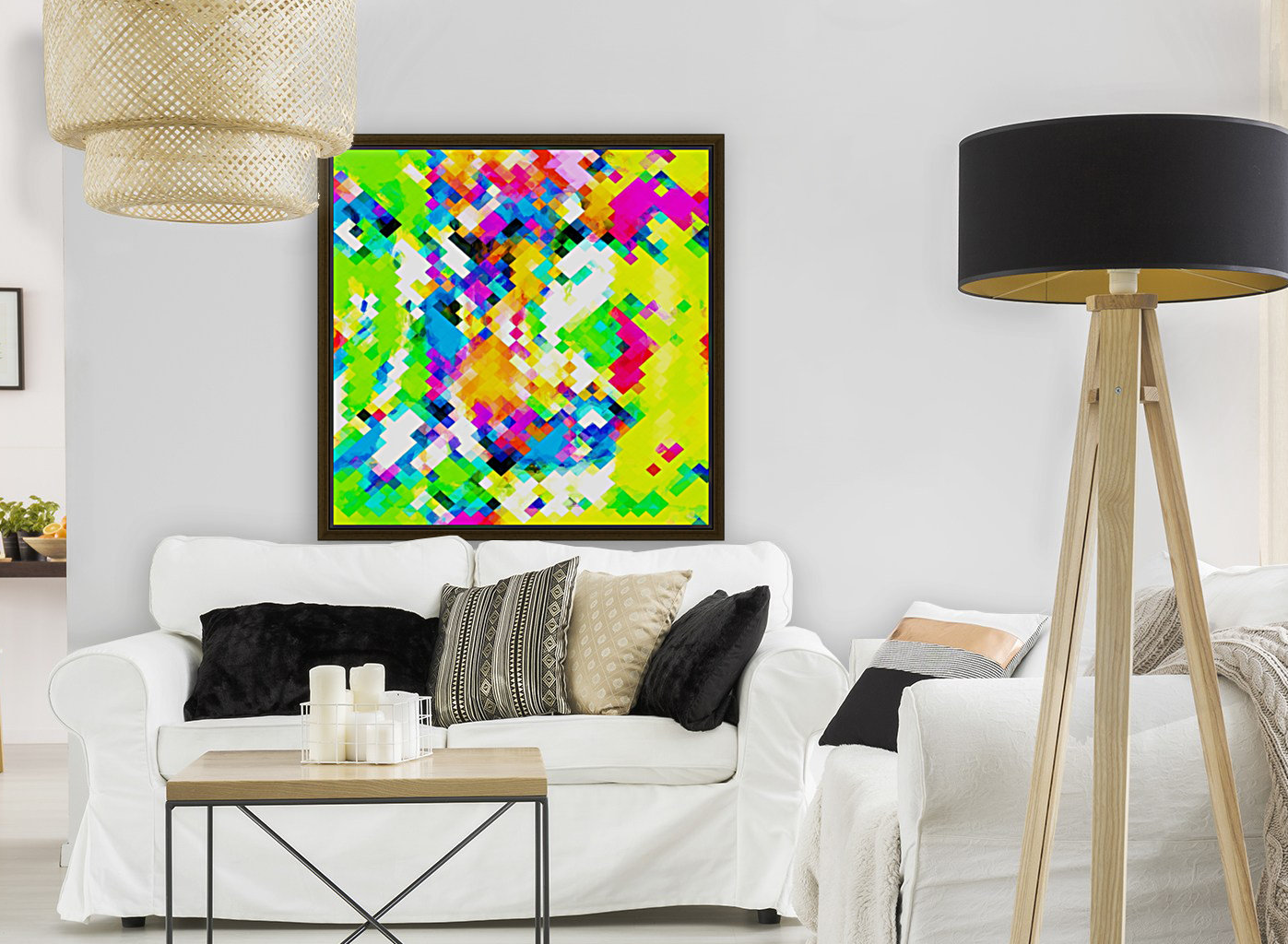 psychedelic geometric pixel abstract pattern in yellow blue green pink  Art