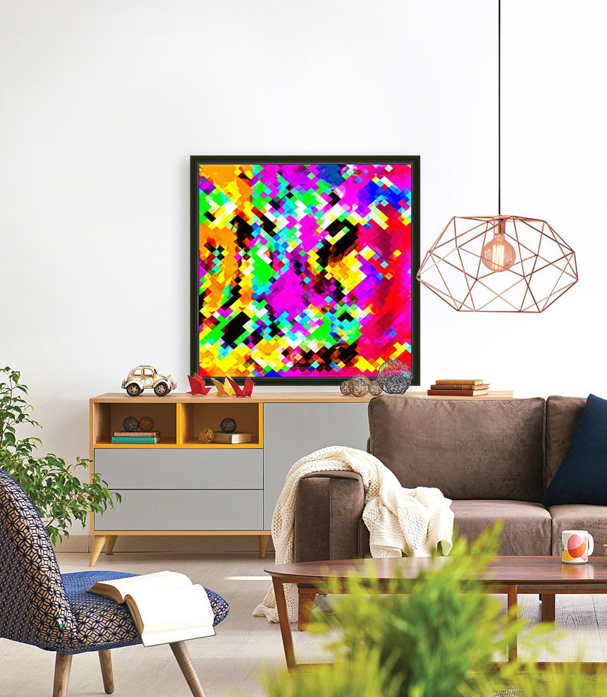 psychedelic geometric pixel abstract pattern in pink purple blue green yellow  Art