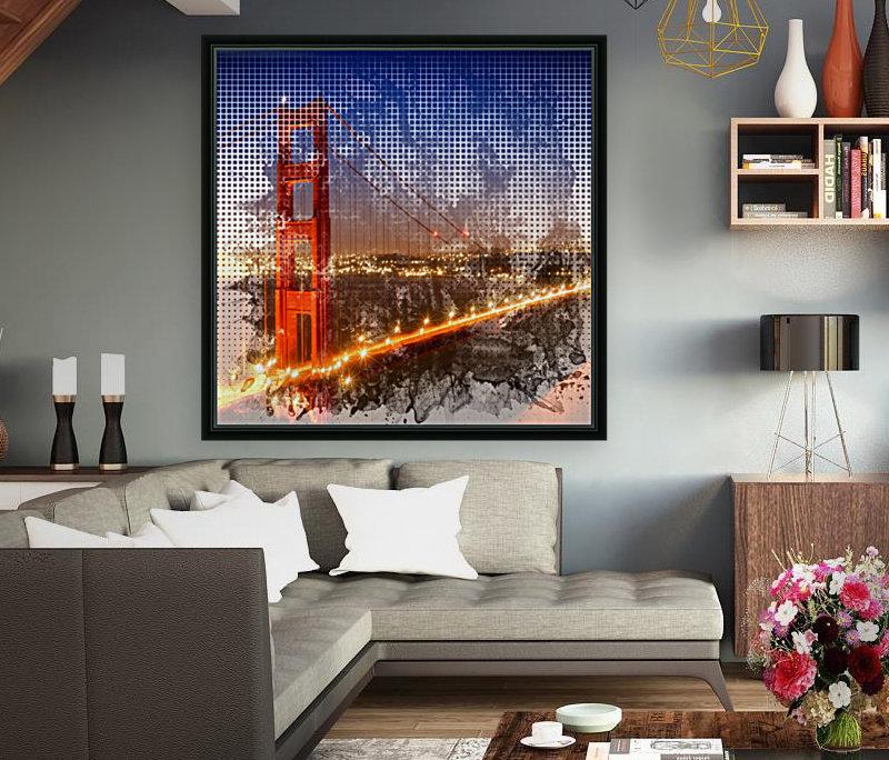 Graphic Art Golden Gate Bridge   watercolour style  Art