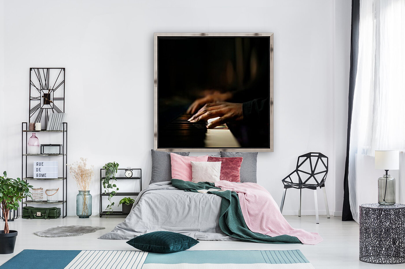Hands playing piano close-up  Art