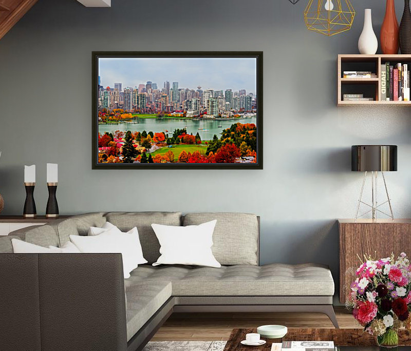 colorful autumn landscape of a modern city by the river  Art