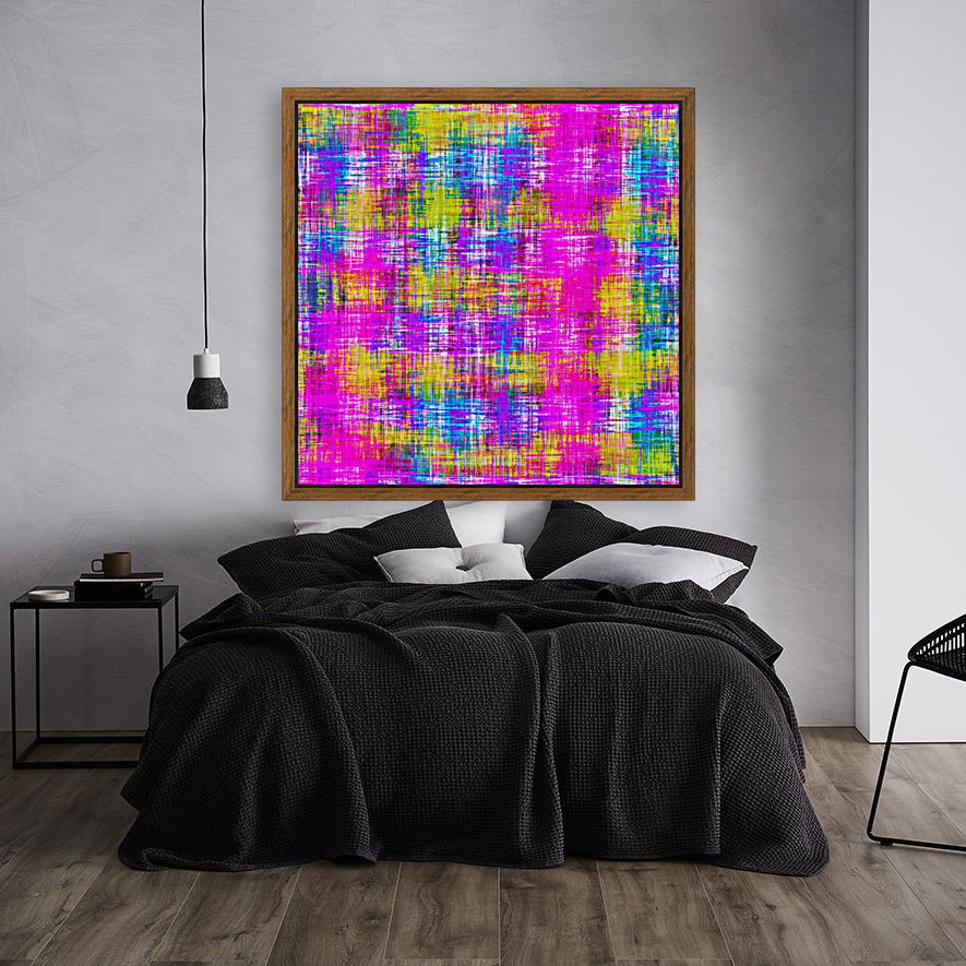 plaid pattern painting texture abstract background in pink purple blue yellow  Art