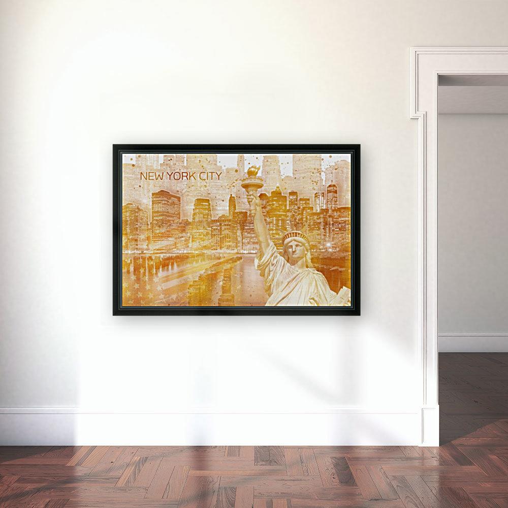 Graphic Art MANHATTAN Collage | golden  Art