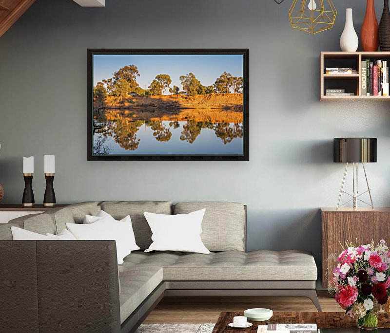 Tranquil river bank reflections at sunrise  Art