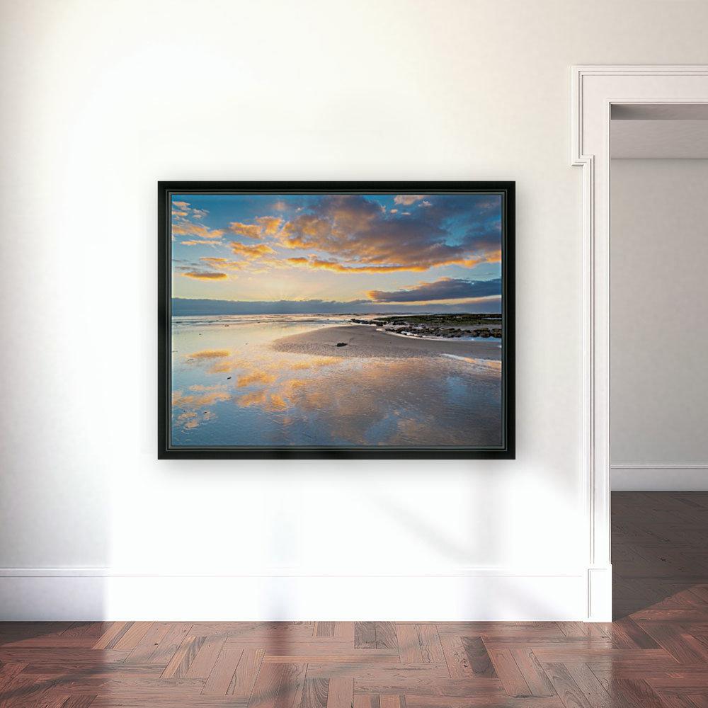 Beach sunrise reflected on the wet sand  Art