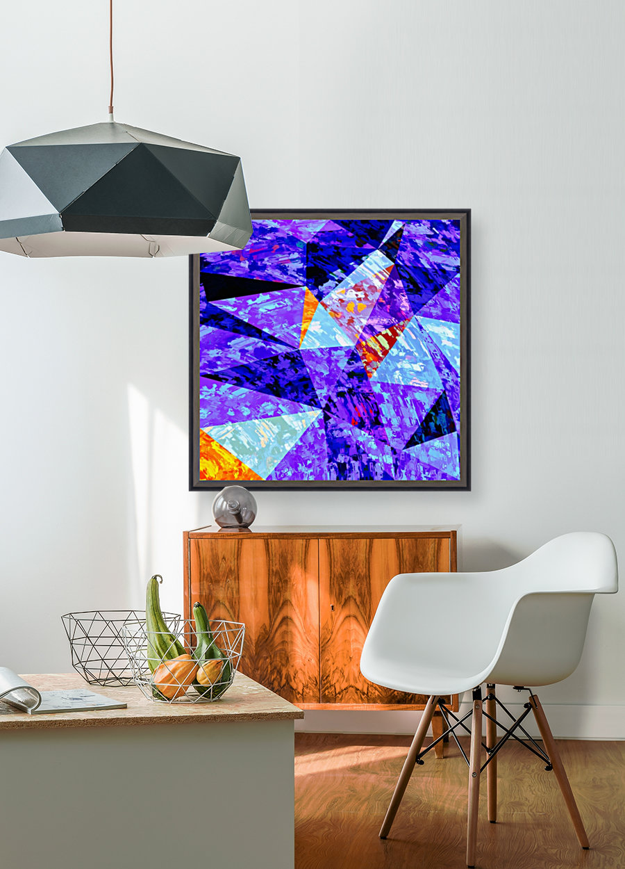 vintage psychedelic geometric triangle polygon pattern abstract in purple blue orange  Art