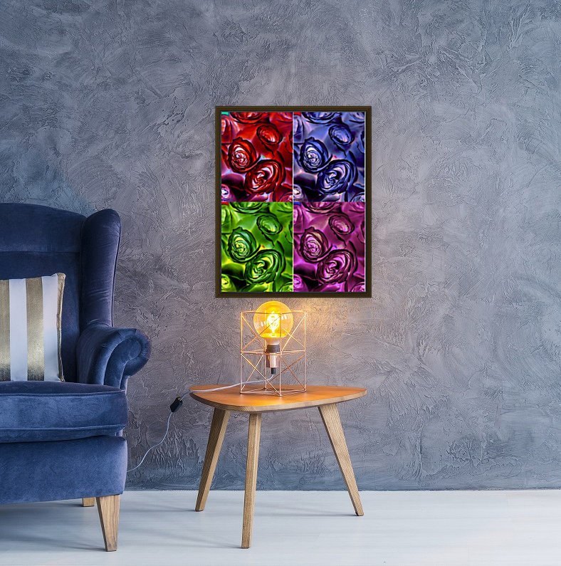 PSYCHEDELIC ROSES  with Floating Frame