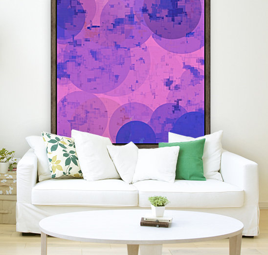geometric circle and square pattern abstract in pink purple  Art