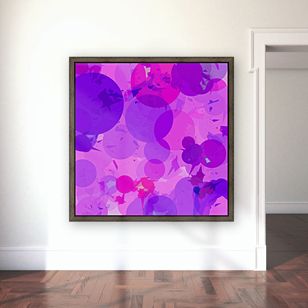 geometric circle and triangle pattern abstract in pink purple  Art