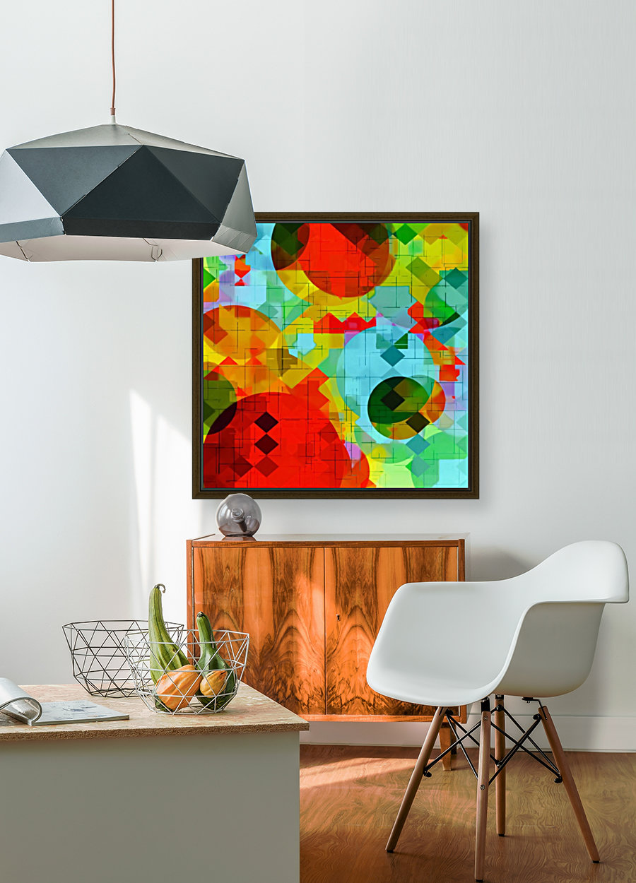 geometric square pixel and circle pattern abstract in red blue yellow  Art