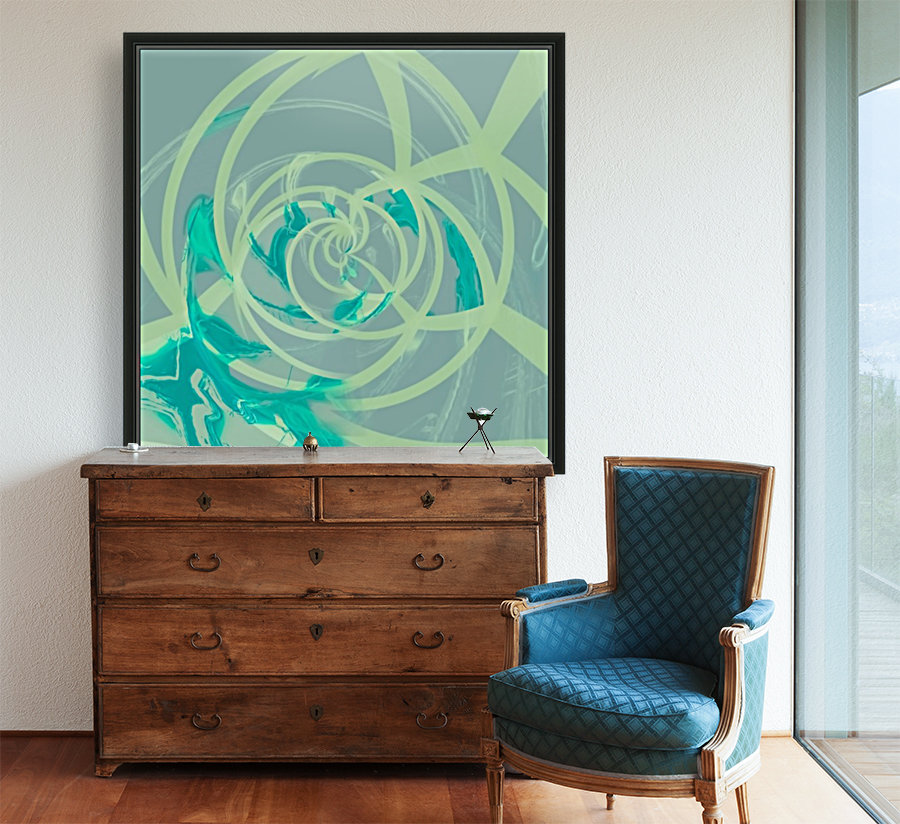 spiral line pattern painting texture abstract in blue green  Art