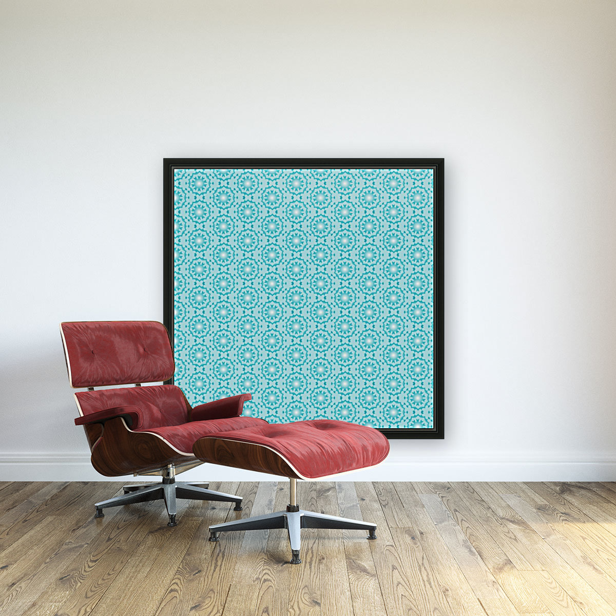 Islamic Blue Art  with Floating Frame
