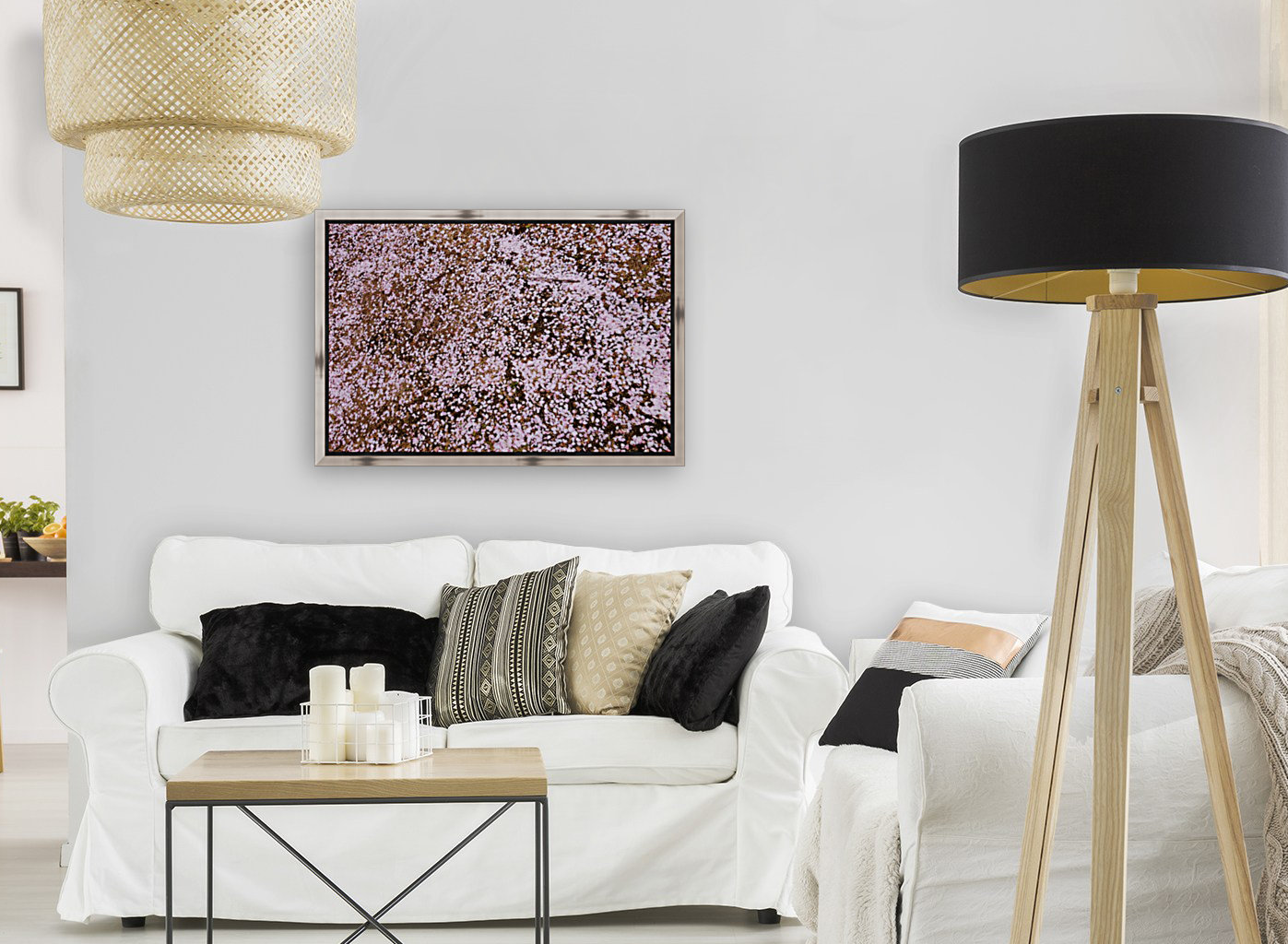 Sakura Petals with Floating Frame