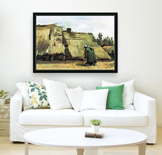 Farmhouse with farmer digging by Van Gogh  Art
