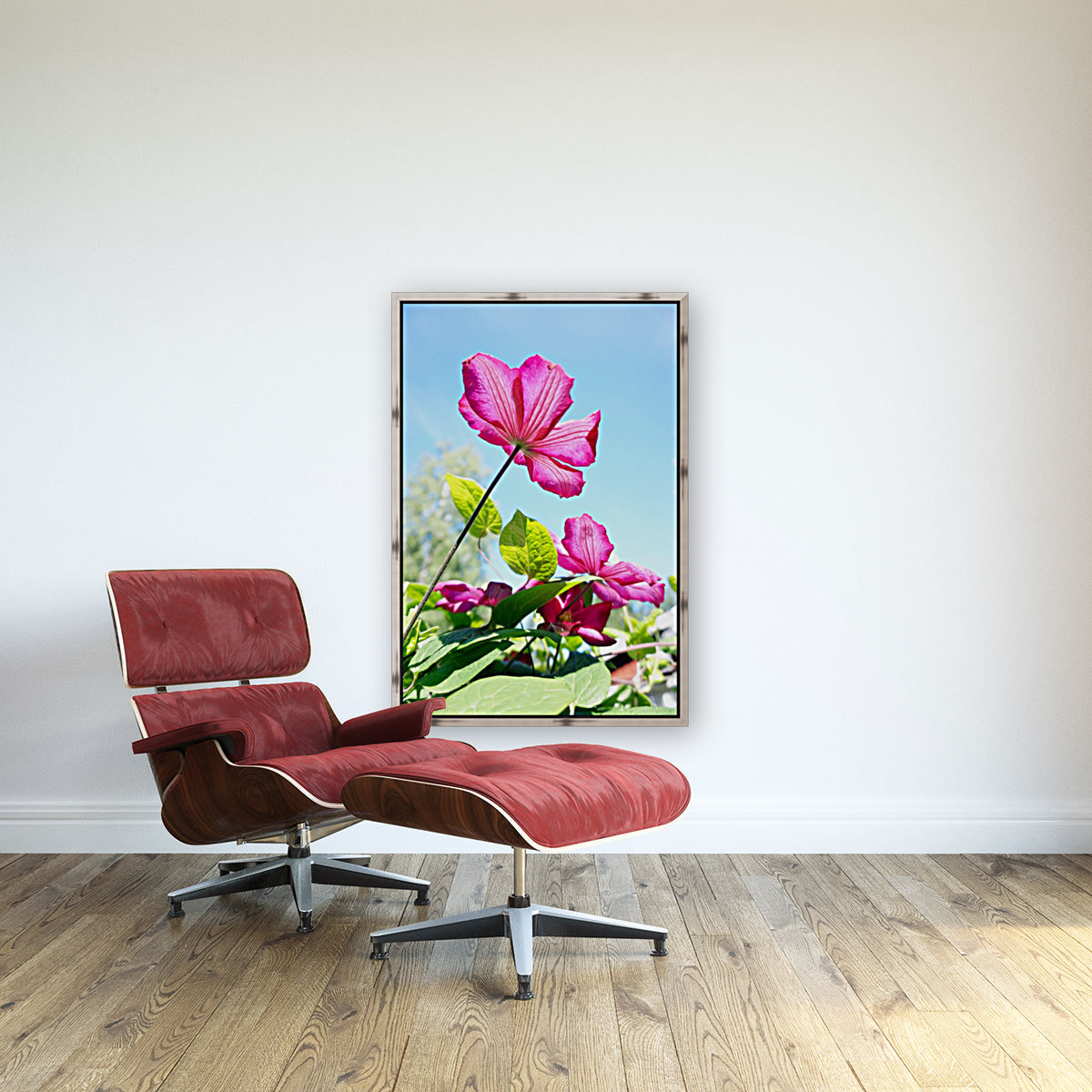 Pink flower and green leaves  Art